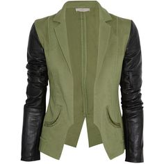 Preen Line Contrast stretch-cotton blazer (£278) ❤ liked on Polyvore featuring outerwear, jackets, blazers, tops, army green, green jacket, olive jacket, leather sleeve green jacket, green blazer and green zip jacket