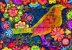 Safe Haven is a limited edition print of one of my original gelli plate (monoprint) mixed media collages. The print measures approximately 5 X 7 Gelli Arts, Plate Art, Chalkboard Art, Mixed Media Collage, Art Pages, Bird Art, Altered Art, Bunt, Pop Art