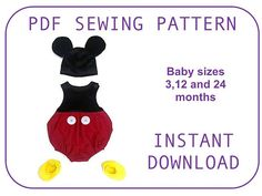 Baby boy Mickey mouse costume pattern. Halloween costume for boys.