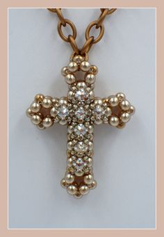 3D Cross with Montees Pendant PDF Jewelry by offthebeadedpath