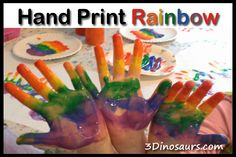 Hand Print Rainbow from 3 Dinosaurs