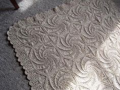 Knitted Spiral Counterpane Blanket
