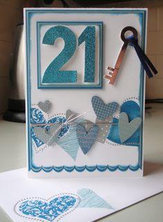 Handmade 21st birthday card ... Blog - EnchantINK ... Stampin' Up! - I {Heart} Hearts