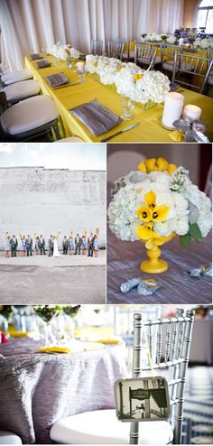 <3 - yellow and gray theme - I'm not huge on any of these but just looking at color schemes. If we pick this - I like the gray table cloth with yellow touches. Yellow table cloth on all tables is a bit much.