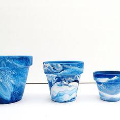Pots - Pots peints de 4 pouces - vase pour plante grasse - Tie Dye Pot - Indigo - Rose - turquoise - marbré planteur - marbré Pot de terre cuite en marbre