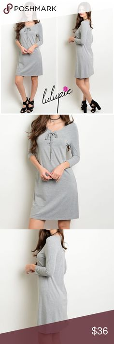 """S-L Gray Lace Up Dress Gray Lace up dress featuring 3/4 sleeves. Made of poly/ spandex blend. Pair them with tights and your favorite boots for winter or cute sandals for spring/ summer! Measurements for small Length 35""""/ Bust 34"""". Bchic Dresses"""