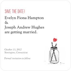 So cute! Signature White Textured Save the Date Cards Rustic Jar - Front : Black