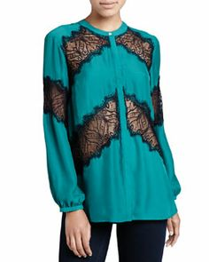T6YN4 Cusp by Neiman Marcus Lace-Panel Buttoned Blouse