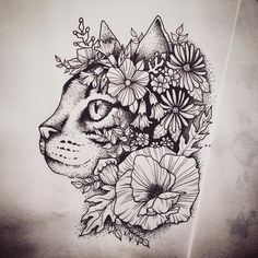 kitty #cat #kitty #tattoo #cattattoo #kittytattoo #cattattoodesign #kittytattoodesign #catinflowers #kottyinflowers