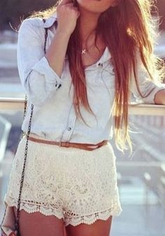 Floral Crochet Shorts - Apricot - Cute Middle Stretch Waist Shorts