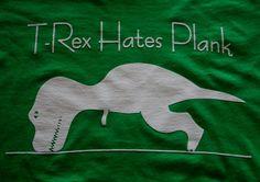 XL T-Rex Hates Plank T-shirt. Fitness t-shirt, mens workout shirt, yoga shirt, running shirt, crossfit shirt, guy gift, trainer gift