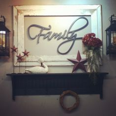 Nice Barnwood frame with Family word and country decor! This would be neat to include in your picture wall we r doing! What do ya think?Ashley Henkle The post Barnwood frame with Family wo . Country Crafts, Country Decor, Rustic Decor, Farmhouse Decor, Country Interior, Decoupage, Do It Yourself Furniture, Barn Wood Frames, Country Primitive