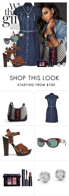 Sevyn Streeter by mellow30 on Polyvore featuring Siviglia, Steve Madden, Gucci, Blue Nile, River Island, Versace and Clé de Peau Beauté
