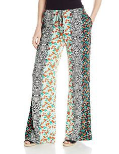 1b91b293e02f Michael Stars Womens Hippie Print Drawstring Wide Leg Pant Floral Stripe  Small ** Find out