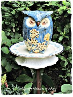 Blue Owl Garden Totem Stake  As Featured by GardenWhimsiesByMary, $37.00