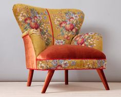 Retro style handmade armchair upholstered with a special gobelin fabric in gold color. The seat area and outer parts are covered with velvet