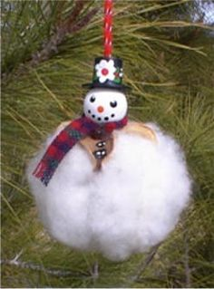 Cotton Snowman and Angel