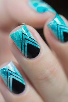 Nail art_teal sponging black stamping_05