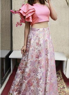 Pink Ruffle Silk Crop Top with Jacquard Skirt Set-Shrena Hirawat-Fabilicious Fashion Crop Tops For Kids, Girls Crop Tops, Skirts For Kids, Crop Top Designs, Fancy Blouse Designs, Lehenga Crop Top, Lehenga Blouse, Lehenga For Girls, Western Dresses For Women