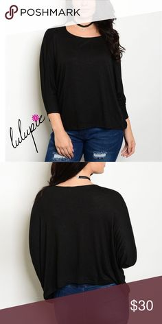 "❗️CLEARANCE❗️Black Oversized Top XS-M Oversized Black Jersey Knit Top. Made of Rayon/ spandex blend. Measurements for small Length 21""/ bust 72""/ waist 64"" Bchic Tops"