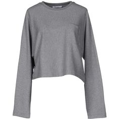 T By Alexander Wang Sweatshirt ($135) ❤ liked on Polyvore featuring tops, hoodies, sweatshirts, grey, long sleeve tops, pocket sweatshirt, long sleeve sweatshirt, gray top and t by alexander wang sweatshirt