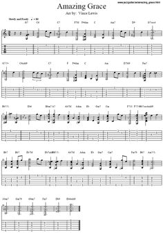 Amazing Grace sheet music w guitar tabs