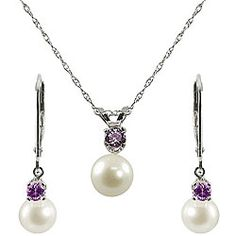 Pearl and Amethyst Jewelry Set,,,,,,,,,,,,,Love it,,,,, my Birthstone and Delicate Pearls,,,,,,