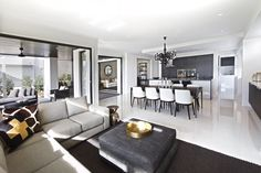 Clarendon Homes.  Fairmont 40.  Open plan living combining the family room, dining & kitchen.