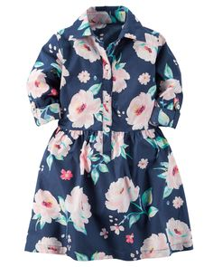 Kid Girl Printed Poplin Shirt Dress from Carters.com. Shop clothing & accessories from a trusted name in kids, toddlers, and baby clothes.