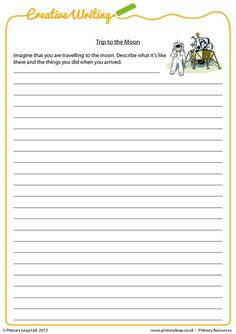 Creative writing worksheet - Students are asked to write about a trip to the moon. Creative Writing Topics, Creative Writing Worksheets, Writing Practice Worksheets, English Writing Practice, Teaching 6th Grade, Narrative Writing, Teacher Favorite Things, Reading Activities, Dream Job