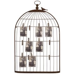 Bird Cage Card & Photo Holder: Display your favorite greeting cards and old photographs with this charming bird cage style wall fixture.