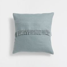 GREEN BANDED LINEN CUSHION COVER WITH FRINGE
