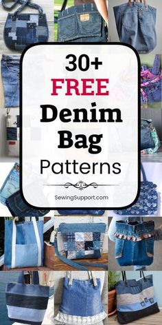 Over 30 free denim bag purse patterns, tutorials, and diy sewing projects, mostly from jeans. Get ideas Denim Bags From Jeans, Diy Old Jeans, Denim Tote Bags, Denim Purse, Diy With Jeans, Diy Bags Jeans, Denim Jean Purses, Old Jeans Recycle, Blue Jean Purses