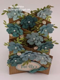 """Floral Double Cascade Card used Cardstock & Ink Colours BLUE - Lost Lagoon, Baja Breeze, Soft Sky, Pear Pizzazz & Very Vanilla. Double Cascade Card is basically two interlocking angled """"z"""" fold cards. base panels are long x at the front & at the rear. Z Cards, Stampin Up Cards, Baby Cards, Hand Made Greeting Cards, Greeting Cards Handmade, Fancy Fold Cards, Folded Cards, Cascading Card, Pop Up Box Cards"""