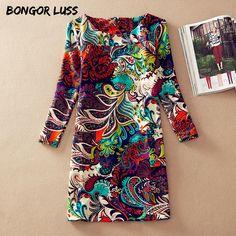 8f42002f88e Plus Size Dress Women Clothing Spring Fashion Flower Print Dress Ladies  Long Sleeve Casual Autumn Dresses Office Vestidos