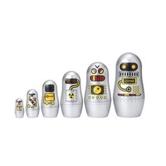 Matryoshka Madness Robot Russian Dolls by OMM Design at Urban Gifts,. A sci-fi themed twist on traditional Matryoshka DollsA great addition to any mantelpiece, bookshelf or office deskAn ideal gift for collectors of Russian Nesting Dolls Retro Robot, Matryoshka Doll, Old Toys, Children's Toys, Gifts For Kids, Geek Stuff, Cool Stuff, Kid Stuff, Gift Ideas