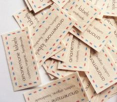 37 airmail brand labels, iron on or sew on custom fabric tags, 100% organic cotton (natural color)