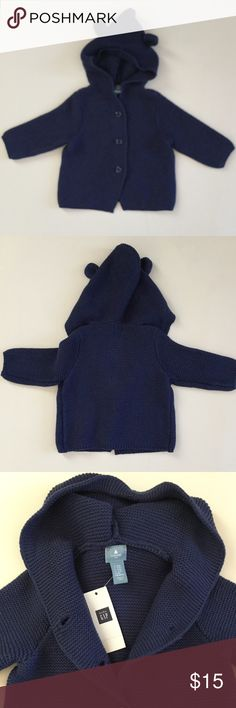 New with tags BABY GAP Hooded button up Sweater New with tags BABY GAP Hooded button up Sweater. Sweater is a heavy one ( fall) and has adorable little ears on it. Sweater is blue and has 3 buttons baby Gap Jackets & Coats