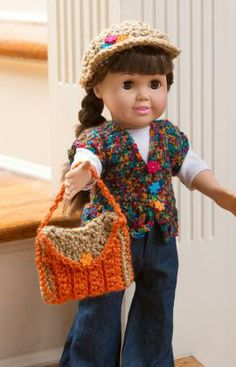 Retro Doll Accessories Free Crochet Pattern from Red Heart Yarns. American Girl Doll vest, hat and purse. Knitting Dolls Clothes, Ag Doll Clothes, Crochet Doll Clothes, Doll Clothes Patterns, Crochet Dolls, Crochet Baby, Free Crochet, Doll Patterns, Crochet Patterns
