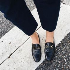 cropped pants & Gucci loafers