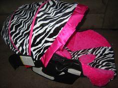 ZEBRA AND PINK CAR SEAT | Graco Snugride Black White Zebra Hot Pink Minky Car Seat Cover