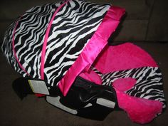 ZEBRA AND PINK CAR SEAT | Graco Snugride Black White Zebra Hot Pink Minky Car Seat Cover