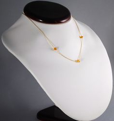 """NOVEMBER Birthstone Vintage Necklace with   Topaz/Orange Austrian Crystal. Made of Fine Gold Fill. This is a perfect piece for Scorpio girls, symbolizing constancy, loyalty, faithfulness and friendship. Get 20% discount with coupon code  """"NOV2013""""."""