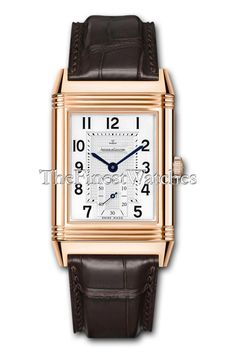 Jaeger Le Coultre Grande Reverso 976 Watch - 3732420. Reversible rectangular 18k pink gold case (46.5mm height x 29mm width, 12mm thick), alligator strap with 18k pink gold deployant clasp, front silver guilloche dial with sub-seconds dial, reverse case back featuring a transparent sapphire crystal in which to view the movement, 19 jewel Caliber 976 manual-winding movement with 48 hour power reserve, scratch-resistant sapphire crystal, water-resistant to 30 meters (165 feet).
