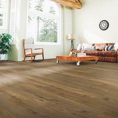 Brown, medium wood-look flooring. Pergo Extreme Wider Longer in Cinnamon Brulee