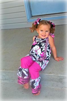 Black and Pink Pillowcase Top with Ruffle Pants by LilCoutureCutie, $35.00