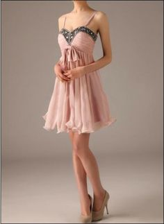Cute cocktail dress with glittery rhinestones and romantic soft ribbon!