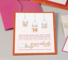 Mason Jar Wedding Save the Date Card - Bright Orange and Pink
