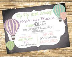 First Birthday Invitation Up Up and Away por PinkStarfishDesigns