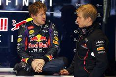 Sebastian Vettel (L), Driver, Heikki Huovinen (R), Personal Trainer, Infiniti Red Bull Racing, Test Day 1, Barcelona, Spain